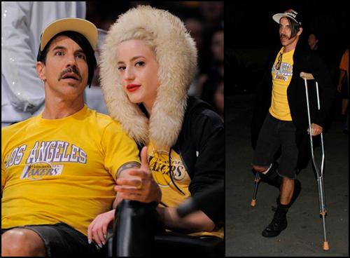 Anthony Kiedis a priateľka Beth Jeans Houghton  na Lakers Game 8. januára 2012