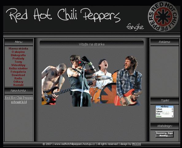 Jednoduchá webová stránka v roku 2007