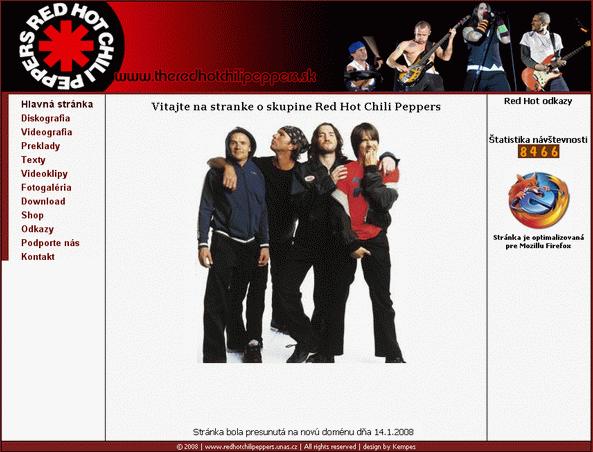 Jednoduchá webová stránka v roku 2008 už na platenej doméne theredhotchilipeppers.sk