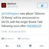 """Názov nového albumu Chili Peppers je """"Oblivion of Being"""", prvý singel s názvom """"Bowie Tale"""""""